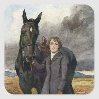 Black Beauty - She Chose Me For Her Horse Square Sticker