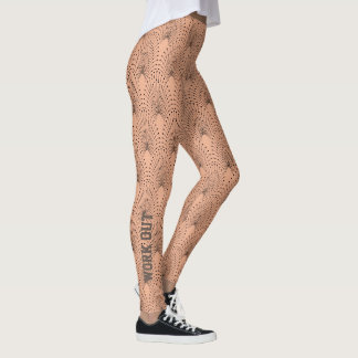 Black Beige Abstract Peacock Work Out Script Leggings