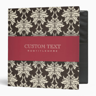 Black Beige And Burgundy Red Floral Damasks 3 Ring Binders