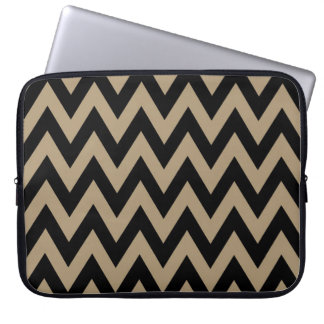 Black Beige Chevron Pattern Laptop Sleeve