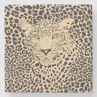 Black & Beige Leopard Camouflaged In Spots Stone Beverage Coaster