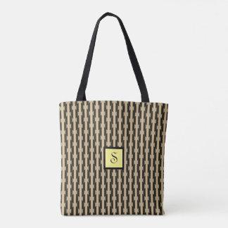 Black & Beige Striped Pattern Monogram Tote Bag