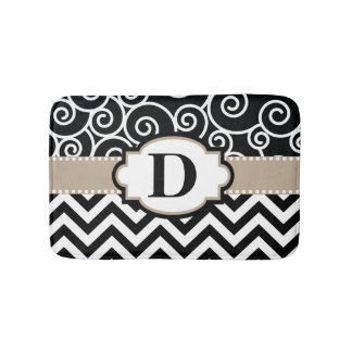 Black Beige Swirls Chevron Bath Mat