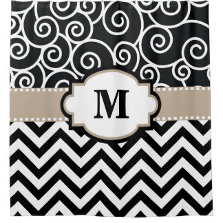 Black Beige Swirls Chevron Monogram
