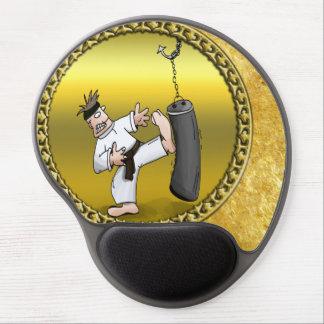 Black belt karate man kicking a black training bag gel mouse pad