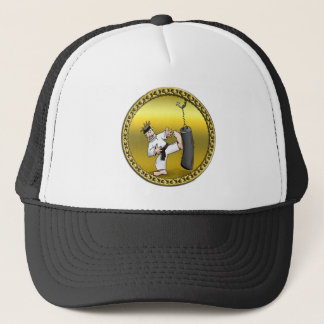 Black belt karate man kicking a black training bag trucker hat