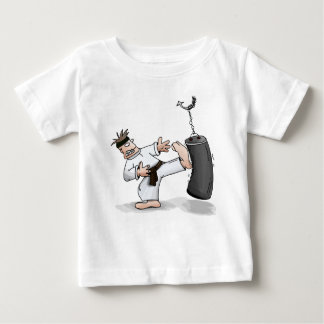 Black belt karate man kicking a training bag baby T-Shirt