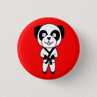 Black Belt Panda Bear Button