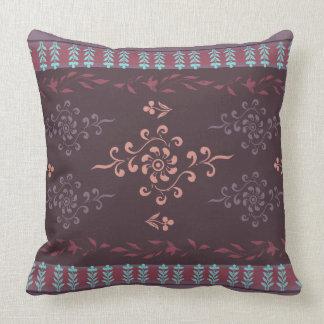 Black Berry Dun Huang Buddhistic Floral Throw Pillow