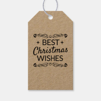 Black Best Christmas Wishes Gift Tags
