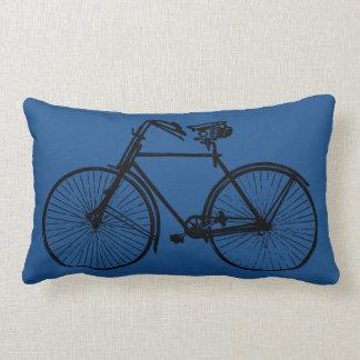 black bike bicycle Throw pillow blue