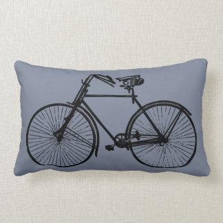 black bike bicycle Throw pillow grey smoke blue