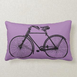 black bike bicycle Throw pillow purple