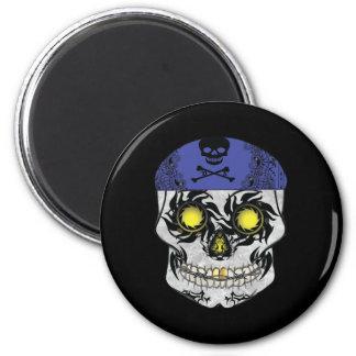Black Biker Candy Skull Round Magnet