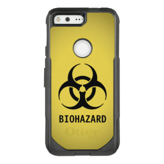 Black Biohazard Symbol on Yellow OtterBox Commuter Google Pixel Case