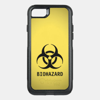 Black Biohazard Symbol on Yellow OtterBox Commuter iPhone 7 Case
