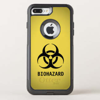 Black Biohazard Symbol on Yellow OtterBox Commuter iPhone 8 Plus/7 Plus Case