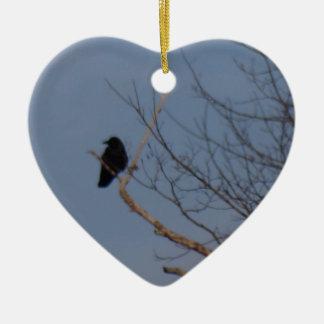 Black Bird Ceramic Heart Ornament