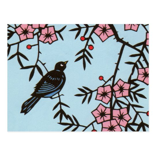 Black Bird Cherry Blossom Tree Postcard