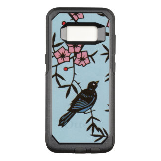 Black Bird in Tree Pretty Pink Flowers OtterBox Commuter Samsung Galaxy S8 Case