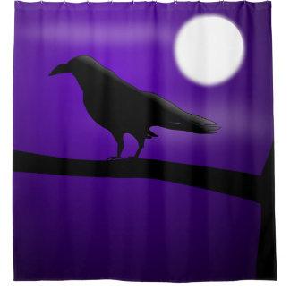 Black Bird on Branch Purple Sky Full Moon