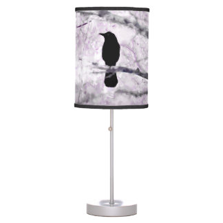 Black Bird on Branch with Purple and Pink Flowers Table Lamp