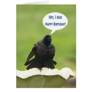 Black bird screaming Happy Birthday for a friend Card