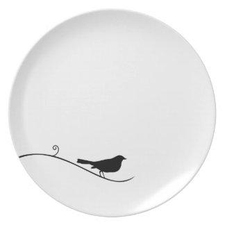 Black Bird Silhouette Black White Bird on Branch Plate