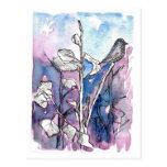 Black Bird Tree Leaves Winter Drawing Watercolor Post Cards