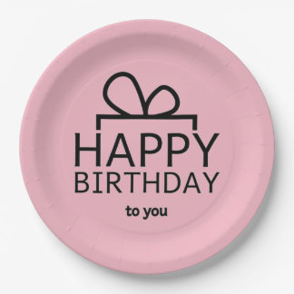 Black Birthday Design On Pink Paper Plate