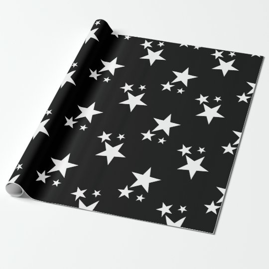 Black Birthday Gift Wrap Paper with white stars