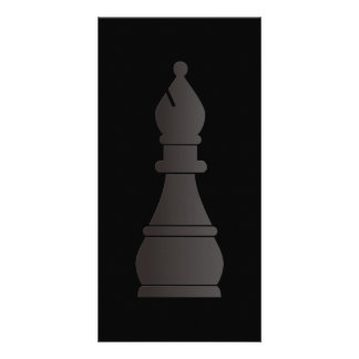 Black bishop chess piece photo cards