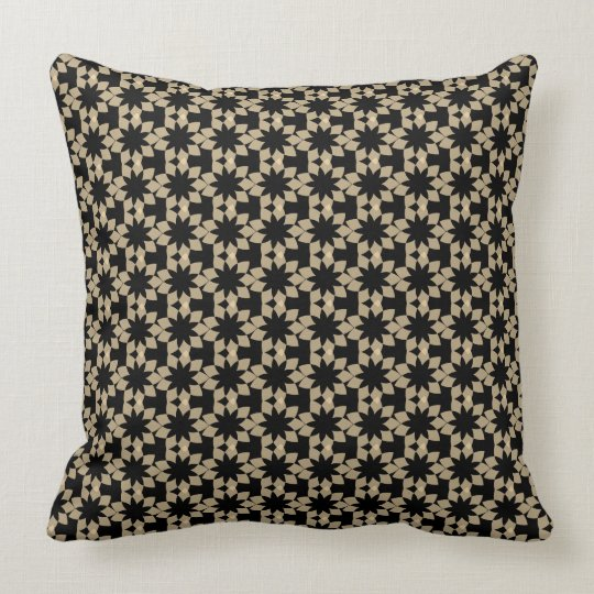 black black geometric graphic design throw pillow