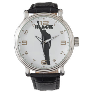 """Black"" Black Power Vintage Leather Wrist Watches"
