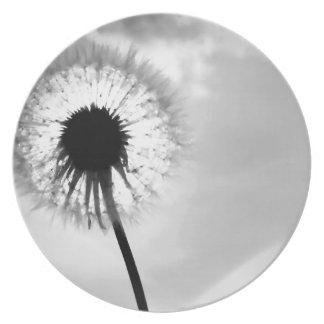Black blank dandelion Black and White Dandelion Dinner Plate