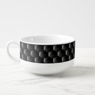 Black block mesh soup mug