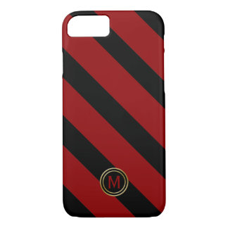 Black & Blood Red Diagonal Wide Stripe Monogram iPhone 8/7 Case