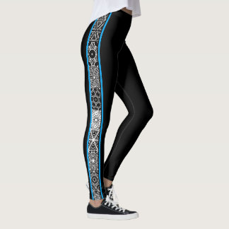 Black Blue Abstract Geometric Pattern Modern Leggings