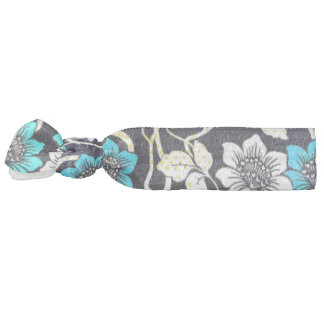 Black, Blue and Cream Floral Hair Tie
