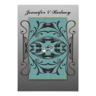 Black, Blue and Silver RSVP Wedding Flat Card Custom Announcements