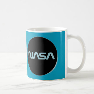 black, blue and white nasa coffee mug