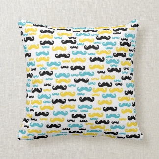 Black Blue and Yellow Mustaches Patterned Throw Pillow