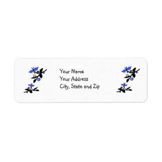 Black & blue butterflies, branches address label