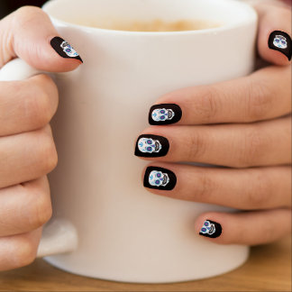 Black Blue Candy Skull Nails Minx Nail Art