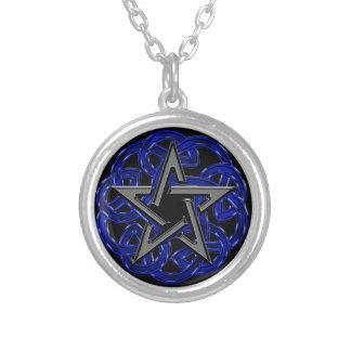 Black & Blue Celtic Pentagram Silver Plated Necklace