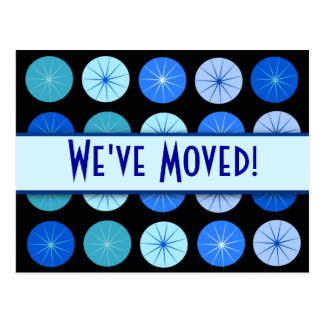 Black & Blue Circle We've Moved Contact Post Cards