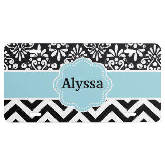 Black Blue Damask Chevron Personalized License Plate