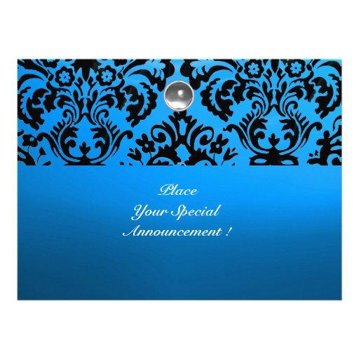 BLACK & BLUE DAMASK GEM STONE MONOGRAM white Invite