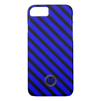 Black & Blue Diagonal Stripe Monogram iPhone 8/7 Case