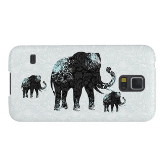 Black & Blue Floral Elephant Galaxy S5 Covers